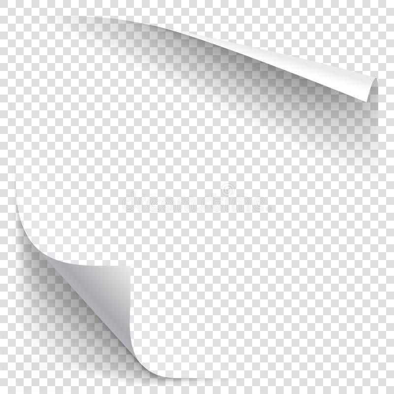 Άσπρη μπούκλα εγγράφου κλίσης απεικόνιση αποθεμάτων