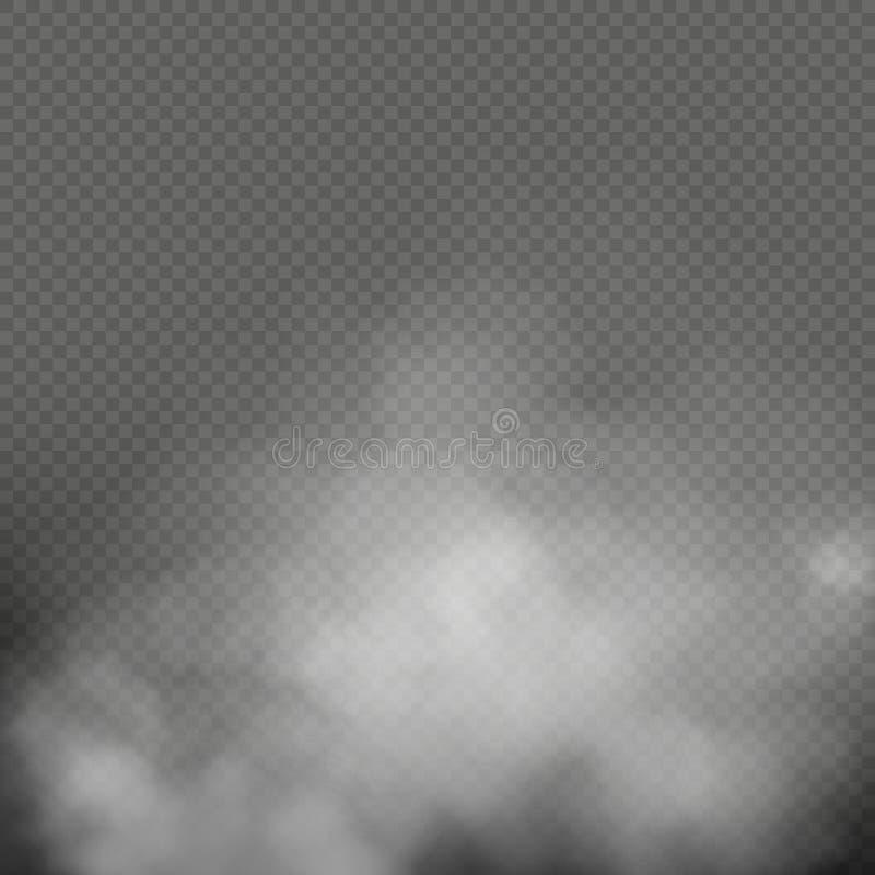 Άσπρη ομίχλη, καπνός ή υδρονέφωση στο διαφανές υπόβαθρο Σύνθεση ειδικό εφέ 10 eps διανυσματική απεικόνιση