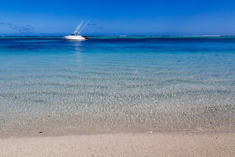 Άσπρη παραλία άμμου LE Morne Μαυρίκιος που αγνοεί τη θάλασσα στοκ εικόνα
