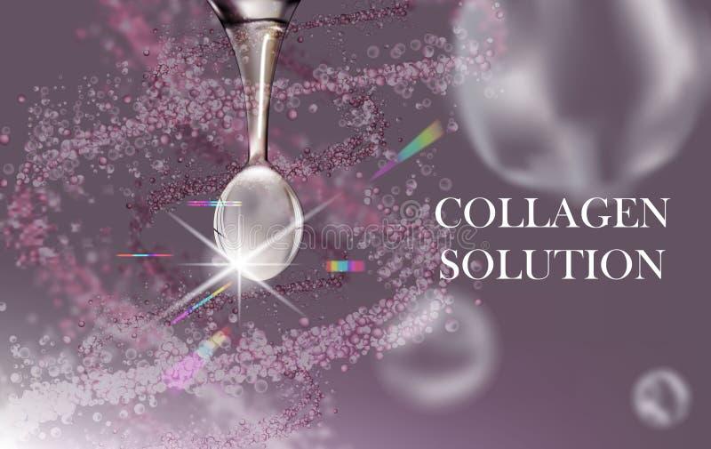 Άσπρη πτώση ορών κολλαγόνων, hyaluronic όξινο, καλλυντικό υπόβαθρο διαφήμισης έτοιμο να χρησιμοποιήσει, αγγελία φροντίδας δέρματο απεικόνιση αποθεμάτων