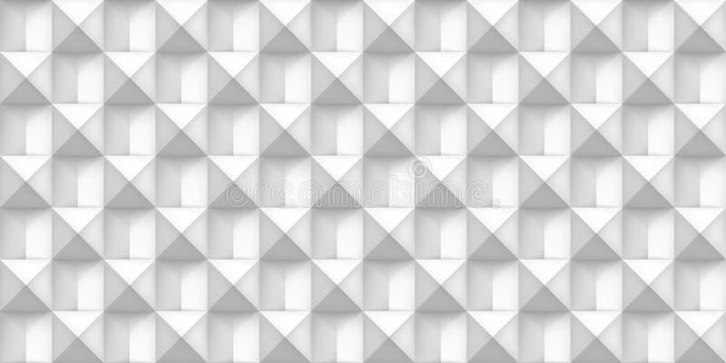 Άσπρη ρεαλιστική σύσταση όγκου, κύβοι, γκρίζο τρισδιάστατο γεωμετρικό άνευ ραφής σχέδιο, διανυσματικό ελαφρύ υπόβαθρο σχεδίου διανυσματική απεικόνιση