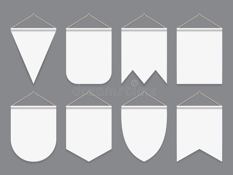 Άσπρη σημαία Κρεμώντας κενές σημαίες υφάσματος Διαφημιστικά υπαίθρια εμβλήματα καμβά Διανυσματικό πρότυπο σημαιών διανυσματική απεικόνιση