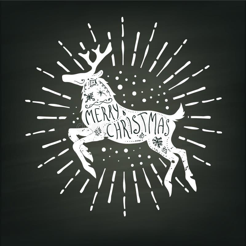 Άσπρη σκιαγραφία ελαφιών Χριστουγέννων στο υπόβαθρο πινάκων κιμωλίας διανυσματική απεικόνιση