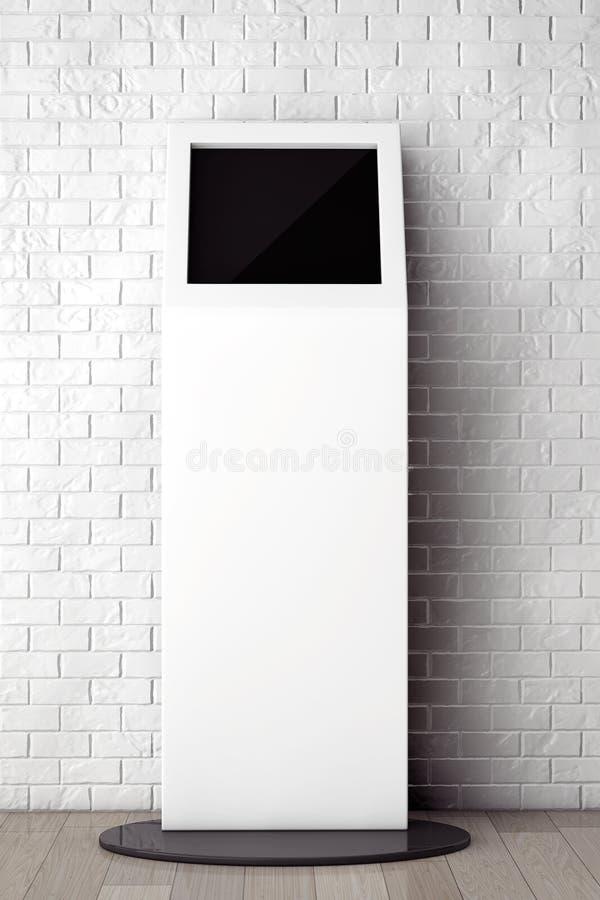 Άσπρη στάση πληροφοριών μπροστά από το τουβλότοιχο με το κενό πλαίσιο στοκ φωτογραφία