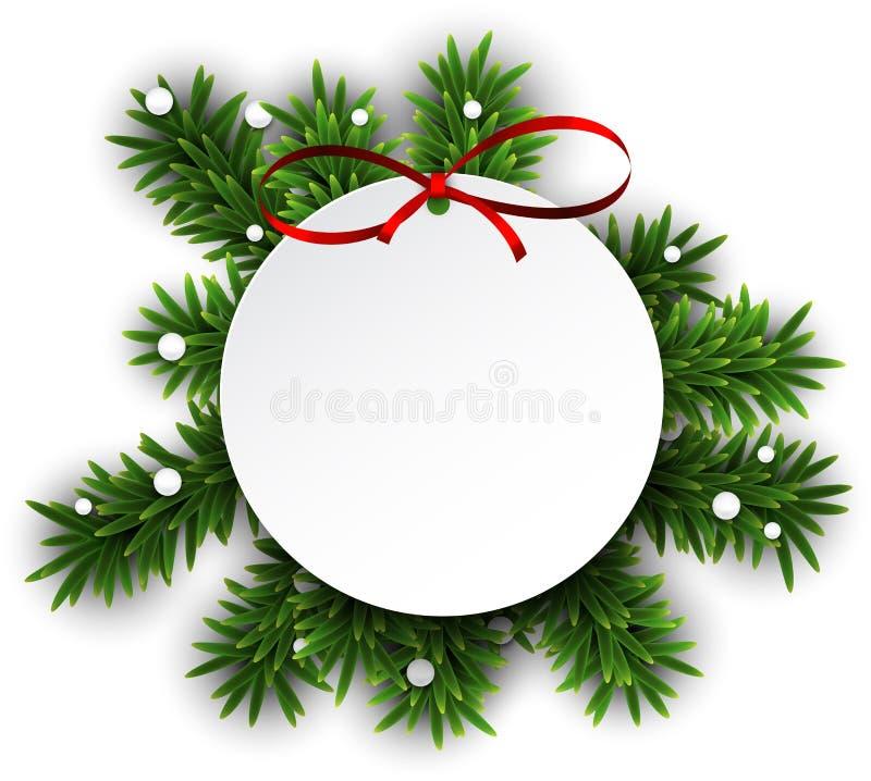 Άσπρη στρογγυλή κάρτα Χριστουγέννων εγγράφου. διανυσματική απεικόνιση