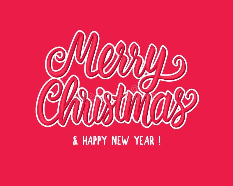 Άσπρη συρμένη χέρι γράφοντας αυτοκόλλητη ετικέττα επιγραφής κειμένων Χαρούμενα Χριστούγεννας Διανυσματική απεικόνιση που απομονών διανυσματική απεικόνιση
