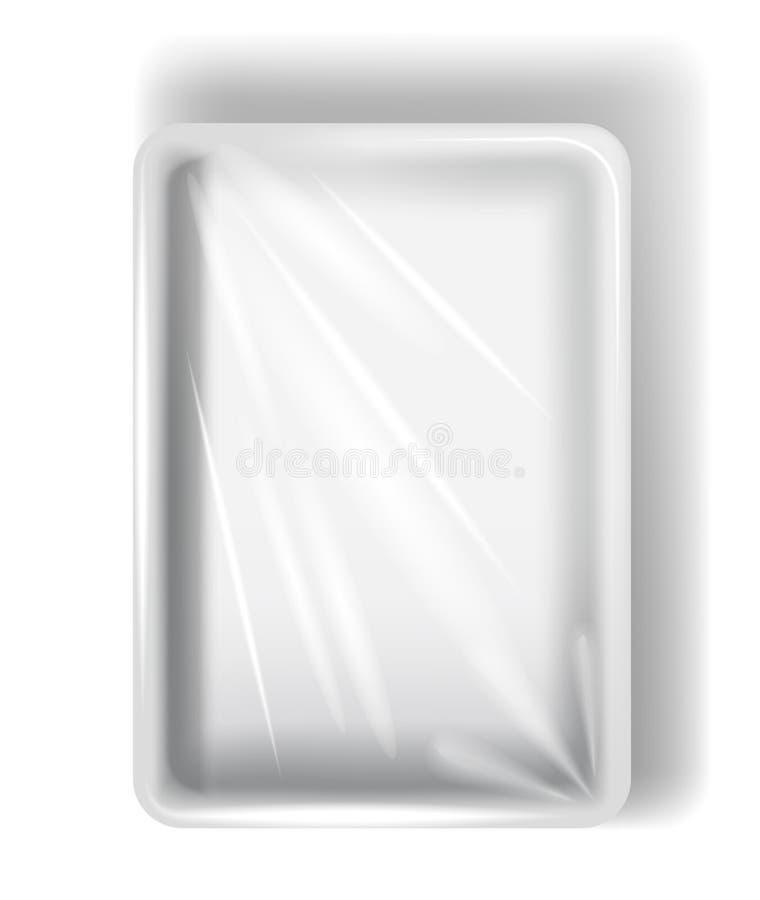 Άσπρη συσκευασία πολυστυρολίου, με τη διαφανή ταινία η ανασκόπηση απομόνωσε το λευκό διανυσματική απεικόνιση
