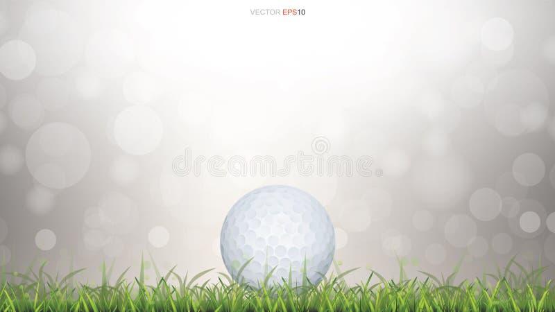 Άσπρη σφαίρα γκολφ στον πράσινο τομέα χλόης και θολωμένο το φως bokeh υπόβαθρο διανυσματική απεικόνιση
