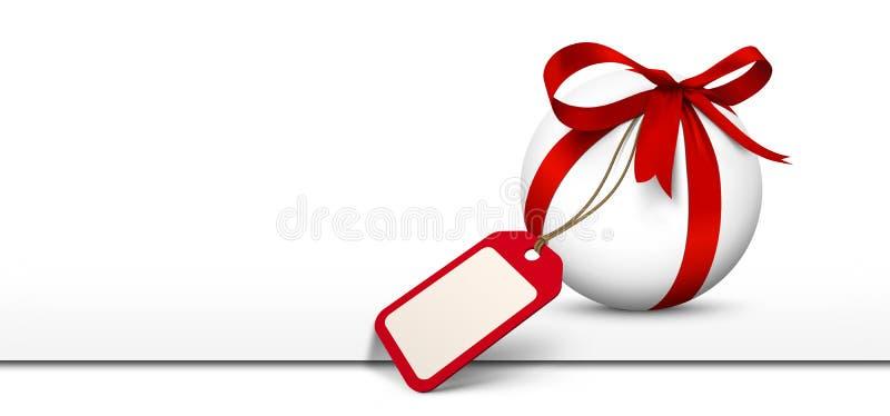 Άσπρη σφαίρα με το κόκκινο τόξο και το κενό πανόραμα δελτίων δώρων ελεύθερη απεικόνιση δικαιώματος