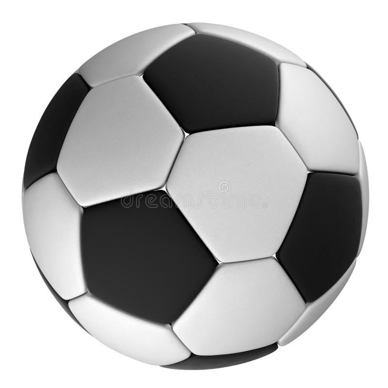 Άσπρη σφαίρα ποδοσφαίρου τα μαύρα σημεία, που απομονώνονται με απεικόνιση αποθεμάτων