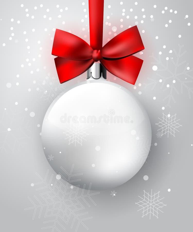 Άσπρη σφαίρα Χριστουγέννων με το κόκκινο τόξο διανυσματική απεικόνιση
