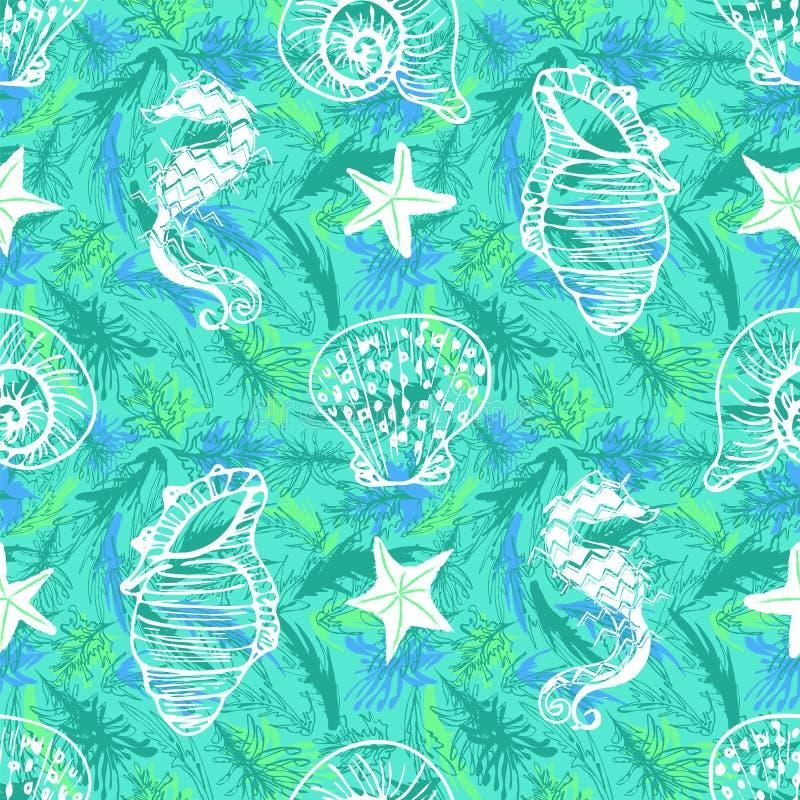 Άσπρη τέχνη γραμμών seahorse, άνευ ραφής σχέδιο αστεριών και θαλασσινών κοχυλιών στο πράσινο και μπλε υπόβαθρο φυκιών διανυσματική απεικόνιση