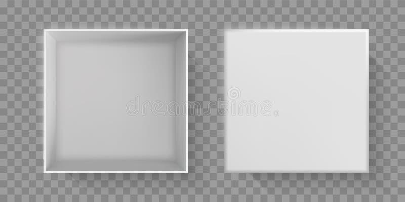 Άσπρη τοπ άποψη κιβωτίων, τρισδιάστατη ανοικτή κορυφή κάλυψης συσκευασίας Διανυσματικό άσπρο κιβώτιο εγγράφου χαρτονιού, κενό απο απεικόνιση αποθεμάτων