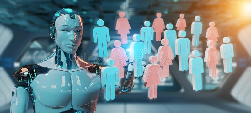 Άσπρη τρισδιάστατη απόδοση ομάδων ανθρώπων cyborg ελέγχοντας ελεύθερη απεικόνιση δικαιώματος