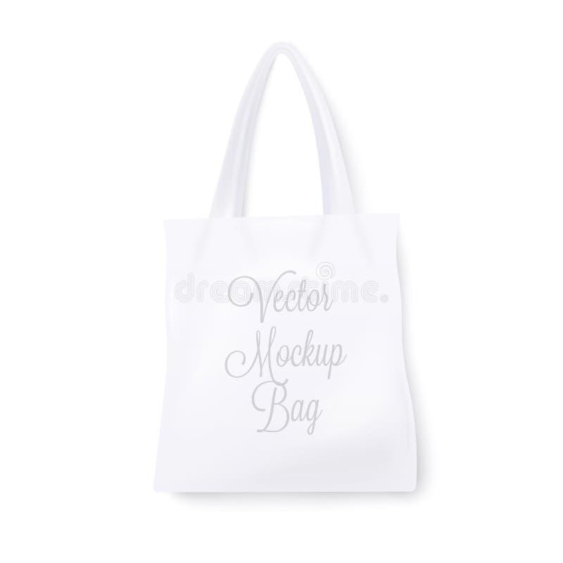 Άσπρη τσάντα προτύπων ρεαλιστική Στην άσπρη ανασκόπηση διάνυσμα ελεύθερη απεικόνιση δικαιώματος
