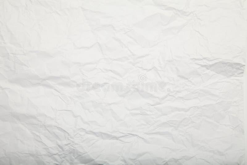 Άσπρη τσαλακωμένη σύσταση εγγράφου Ευγενές υπόβαθρο στοκ φωτογραφία
