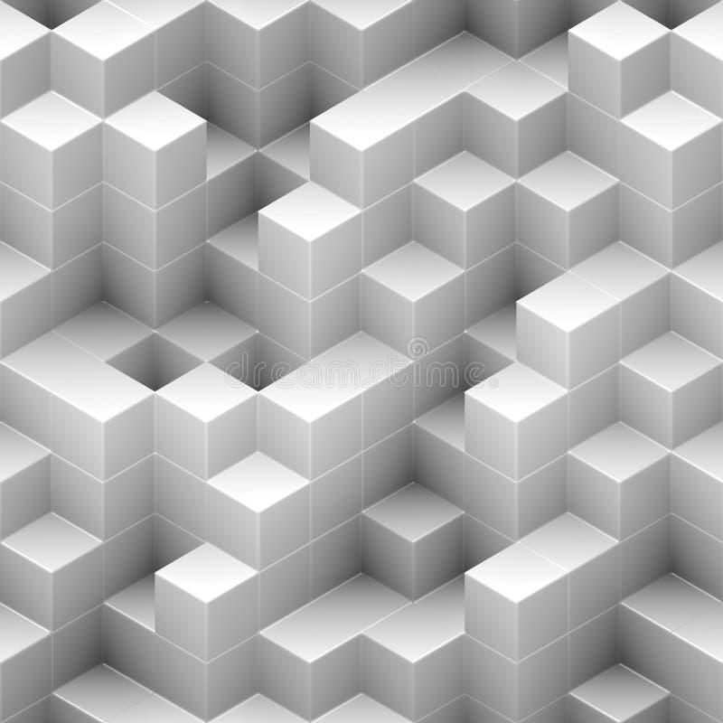 Άσπρη, τυχαία συσσωρευμένη δομή άνευ ραφής υποβάθρου κύβων - διανυσματική απεικόνιση