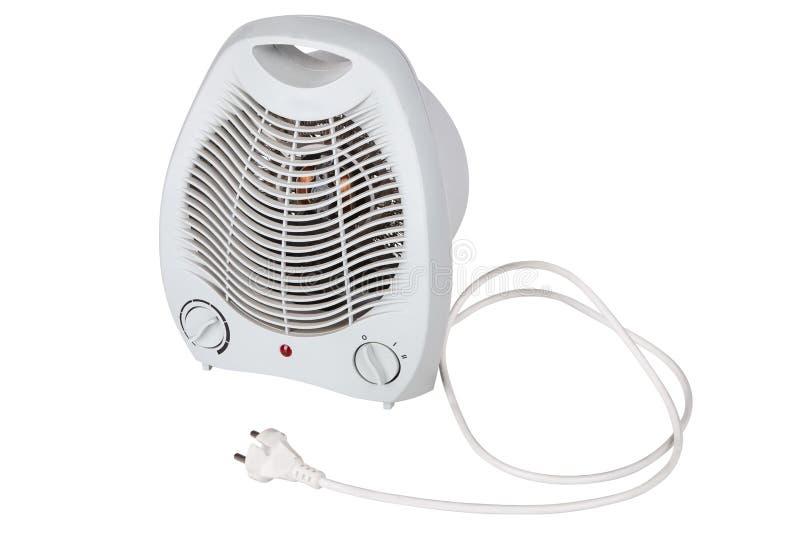 Άσπρη φορητή ηλεκτρική θερμάστρα που απομονώνεται στο άσπρο υπόβαθρο στοκ εικόνες