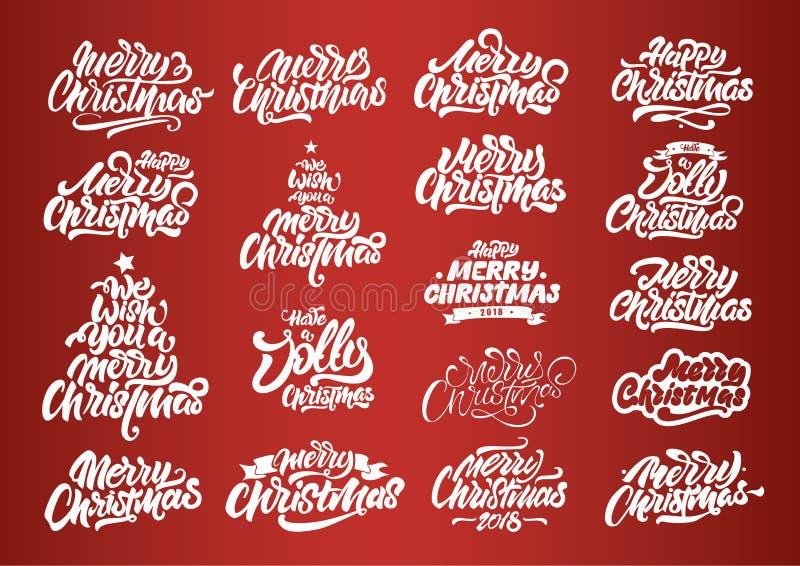 Άσπρη Χαρούμενα Χριστούγεννα που γράφει τα σχέδια Τυπογραφία καλής χρονιάς Χαρούμενα Χριστούγεννα που γράφει τα λογότυπα για την  στοκ εικόνα