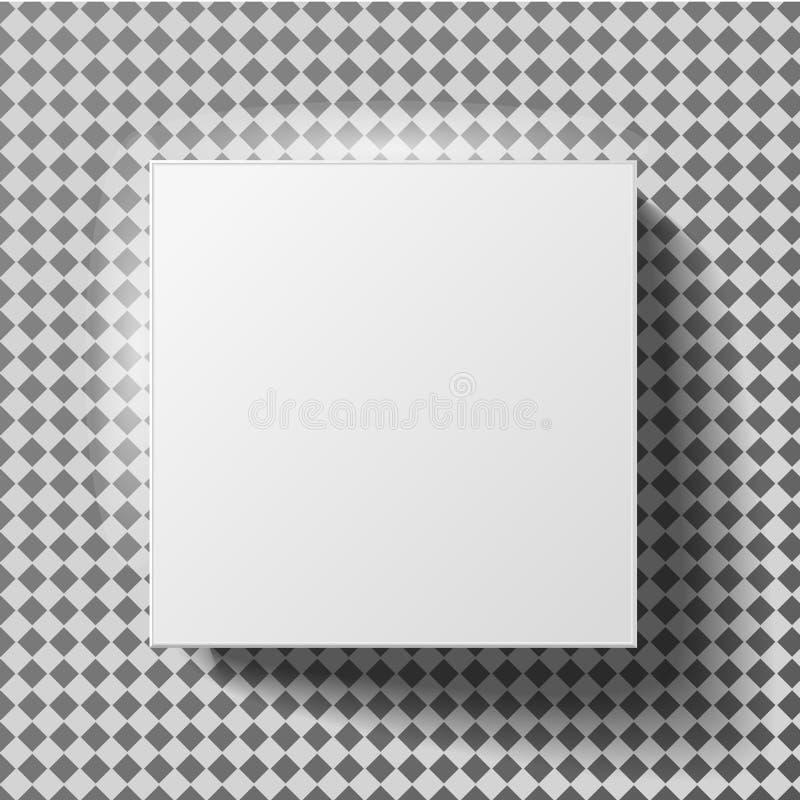 Άσπρη χλεύη κιβωτίων επάνω στην πρότυπη τρισδιάστατη τοπ άποψη με τη σκιά διανυσματική απεικόνιση
