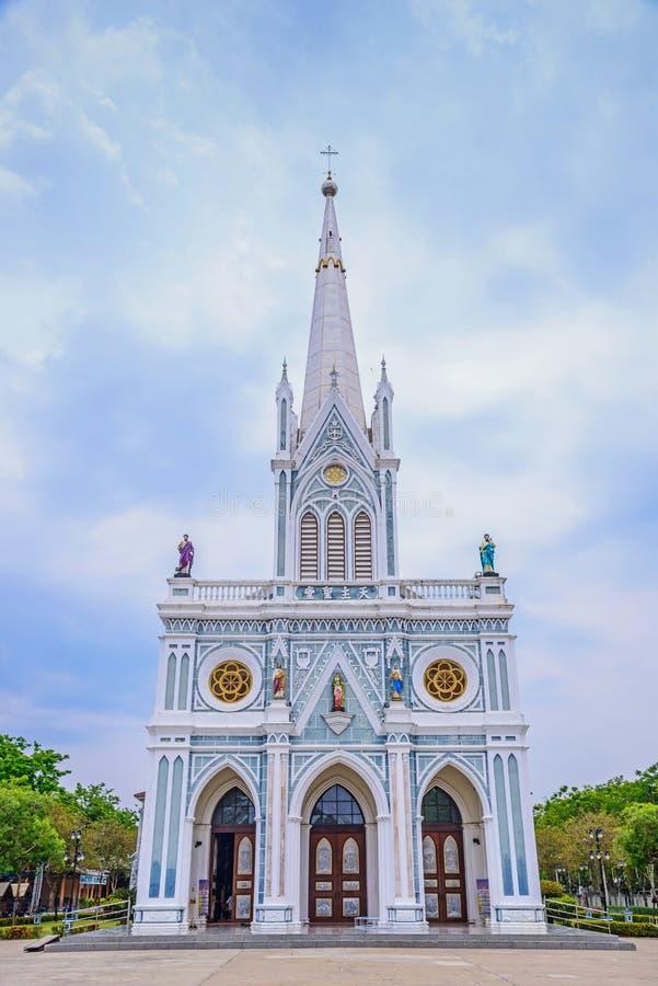 Άσπρη χριστιανική εκκλησία, επαρχία Samut Songkhram, Ταϊλάνδη στοκ φωτογραφίες με δικαίωμα ελεύθερης χρήσης