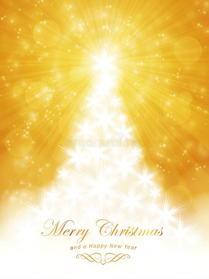 Άσπρη χρυσή κάρτα Χαρούμενα Χριστούγεννας με το δέντρο και την ελαφριά έκρηξη ελεύθερη απεικόνιση δικαιώματος