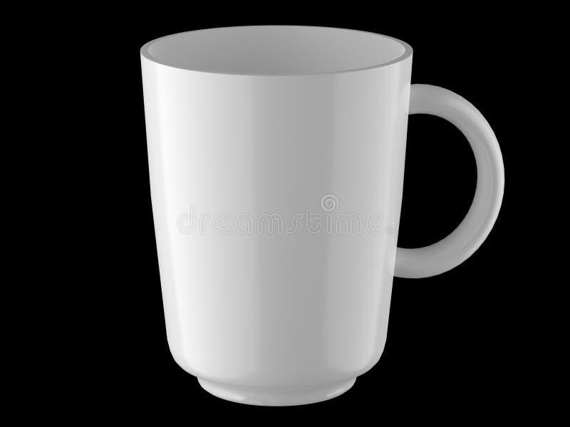 Άσπρη ψηλή κούπα σε μια μαύρη τρισδιάστατη απόδοση υποβάθρου απεικόνιση αποθεμάτων