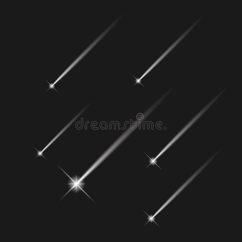 Άσπροι διανυσματικοί μετεωρίτης και κομήτης αστεριών αστεριών πυροβολισμού μειωμένοι στο σκοτεινό υπόβαθρο διανυσματική απεικόνιση