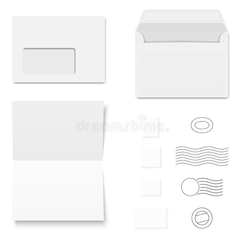 Άσπροι φάκελοι/έγγραφο γραψίματος/γραμματόσημα απεικόνιση αποθεμάτων
