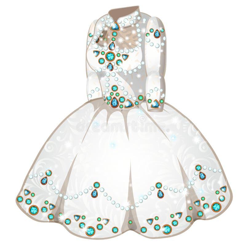 Άσπρος γάμος ή εθιμοτυπικό φόρεμα με τους πολύτιμους λίθους ελεύθερη απεικόνιση δικαιώματος