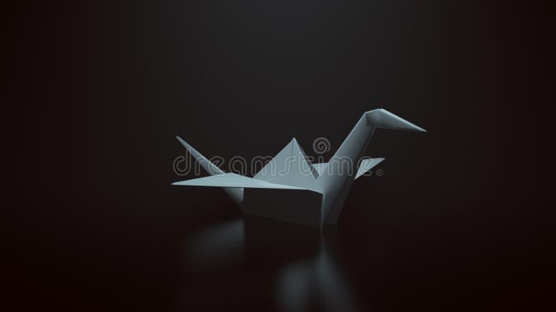 Άσπρος γερανός εγγράφου Origami σε ένα μαύρο υπόβαθρο με την κορυφή κάτω από το φωτισμό διανυσματική απεικόνιση