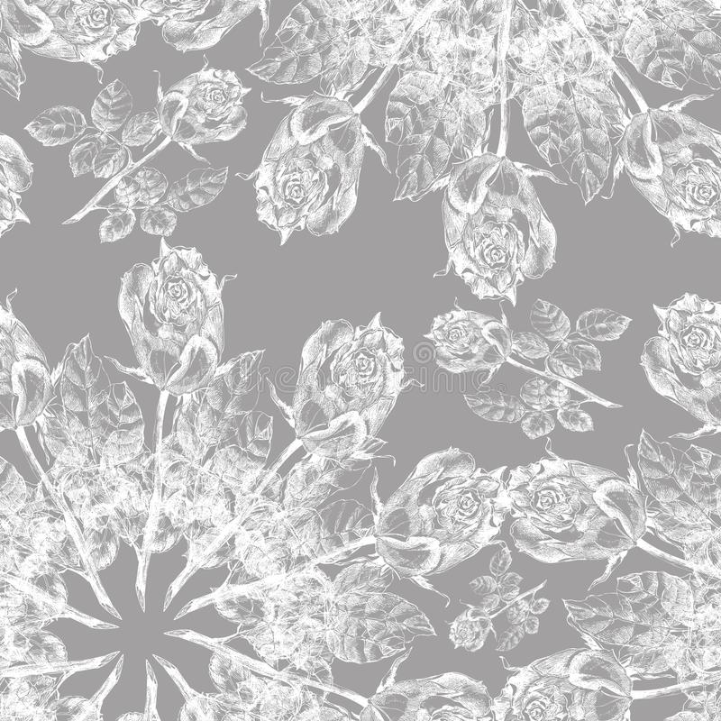 Άσπρος γραφικός αυξήθηκε snowflake σε ένα γκρίζο υπόβαθρο floral πρότυπο άνευ ραφής διανυσματική απεικόνιση