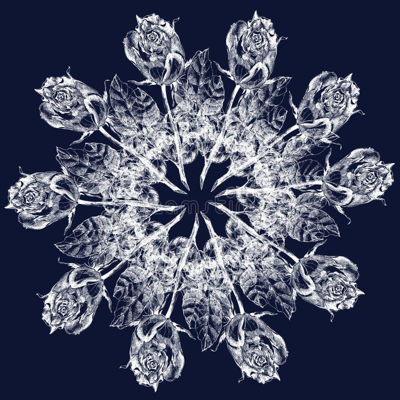 Άσπρος γραφικός αυξήθηκε snowflake σε ένα μπλε υπόβαθρο floral πρότυπο καρδιών λουλουδιών απελευθέρωσης πεταλούδων κίτρινο διανυσματική απεικόνιση