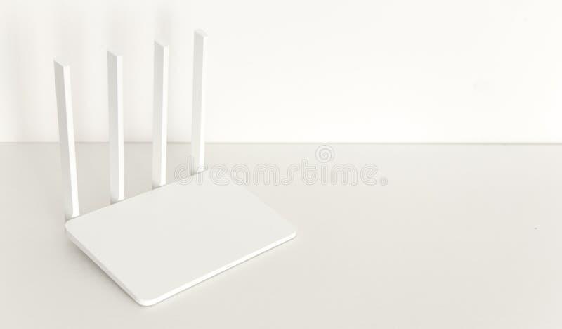 Άσπρος δρομολογητής wifi στο άσπρο υπόβαθρο μινιμαλισμός στοκ φωτογραφίες με δικαίωμα ελεύθερης χρήσης
