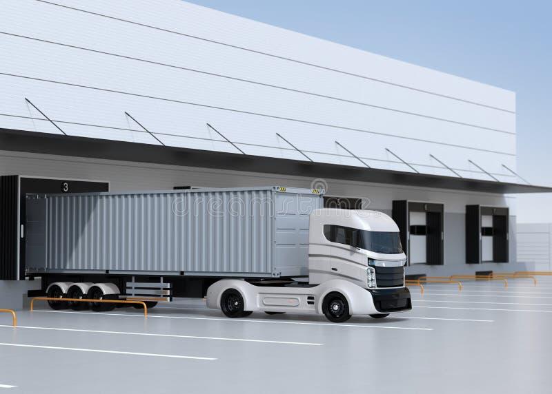 Άσπρος ηλεκτρικός χώρος στάθμευσης φορτηγών μπροστά από το σύγχρονο κέντρο διοικητικών μεριμνών απεικόνιση αποθεμάτων
