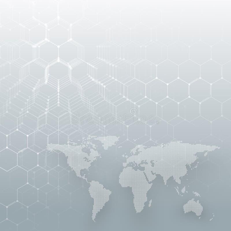 Άσπρος διαστιγμένος παγκόσμιος χάρτης, συνδέοντας γραμμές και σημεία στο γκρίζο υπόβαθρο χρώματος Σχέδιο χημείας, εξαγωνικό μόριο διανυσματική απεικόνιση