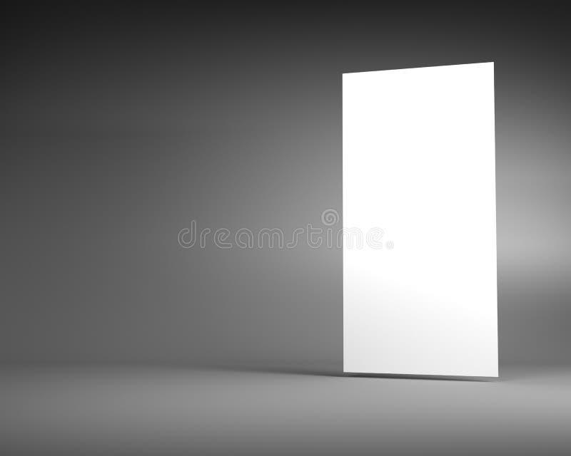 Άσπρος κάθετος πίνακας διαφημίσεων σε ένα σκοτεινό γκρίζο υπόβαθρο διανυσματική απεικόνιση
