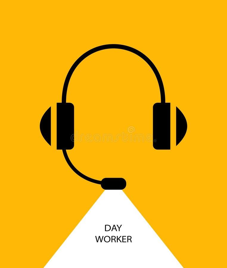 Άσπρος κίτρινος μικροφώνων ακουστικών απεικόνιση αποθεμάτων