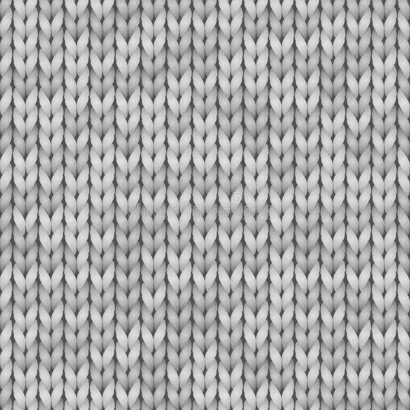 Άσπρος και γκρίζος ρεαλιστικός πλέκει το άνευ ραφής σχέδιο σύστασης Διανυσματικό άνευ ραφής υπόβαθρο για το έμβλημα, περιοχή, κάρ διανυσματική απεικόνιση