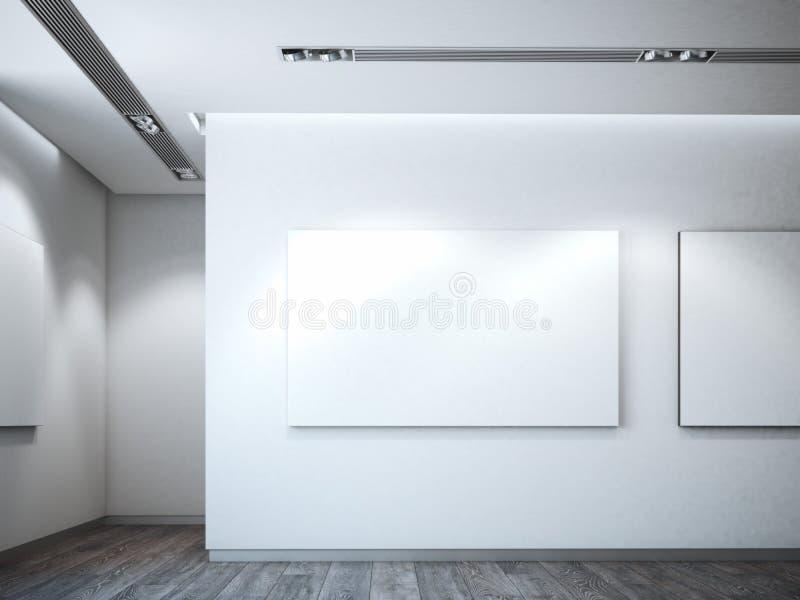 Άσπρος καμβάς σε έναν άσπρο τοίχο τρισδιάστατη απόδοση στοκ εικόνες