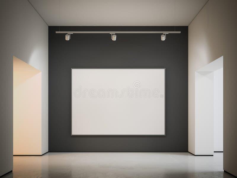 Άσπρος καμβάς στο μαύρο τοίχο τρισδιάστατη απόδοση ελεύθερη απεικόνιση δικαιώματος