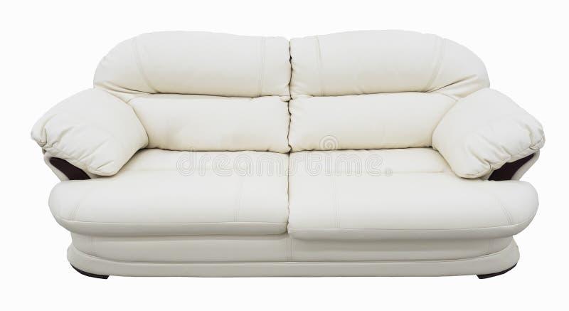 Άσπρος καναπές δέρματος eco Μαλακός λευκός σαν το χιόνι καναπές με το capitone κατεβατών λεωφορείο-τύπων Κλασικό ντιβάνι στο απομ στοκ φωτογραφίες