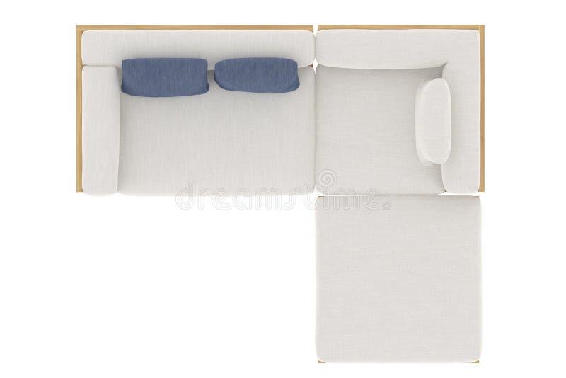 Άσπρος καναπές με τρία μαξιλάρια στοκ φωτογραφία