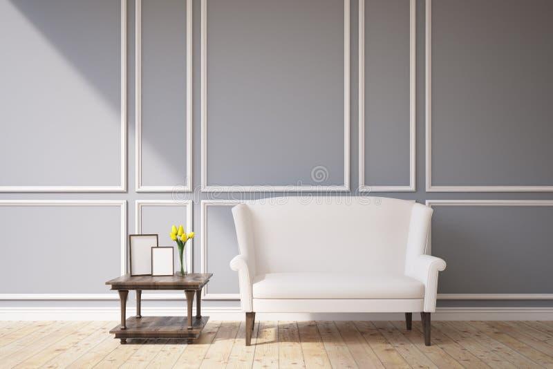 Άσπρος καναπές σε ένα γκρίζο δωμάτιο διανυσματική απεικόνιση