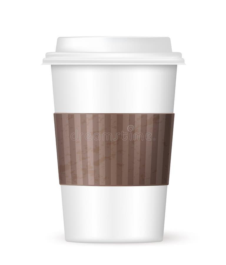 Άσπρος καφές για να πάει φλυτζάνι διανυσματική απεικόνιση