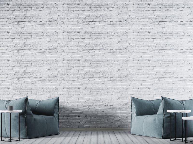 Άσπρος κενός τοίχος τούβλου στο σύγχρονο εσωτερικό υπόβαθρο με την μπλε πολυθρόνα υφάσματος απεικόνιση αποθεμάτων