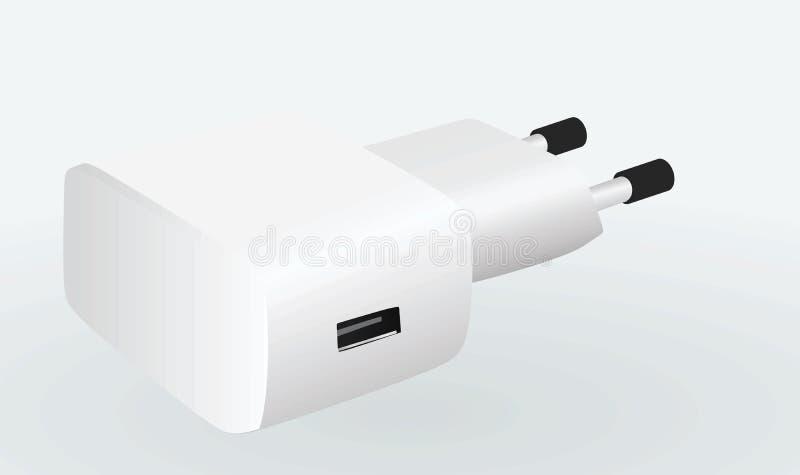 Άσπρος κινητός φορτιστής διανυσματική απεικόνιση