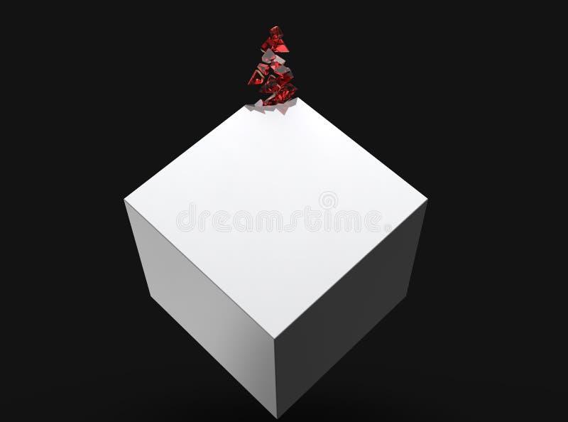 Άσπρος κύβος που διαλύει αργά στα κόκκινα κρύσταλλα απεικόνιση αποθεμάτων