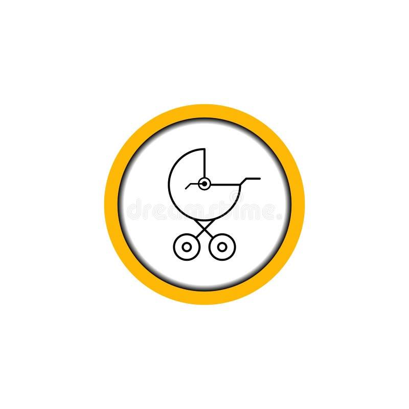 Άσπρος κύκλος μεταφορών μωρών ζώνης σημαδιών πιάτων διανυσματική απεικόνιση