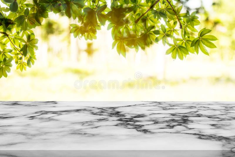 Άσπρος μαρμάρινος μετρητής με το υπόβαθρο φύσης στοκ εικόνες
